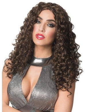 70's Glam Women's Deluxe Curly Brown Costume Wig