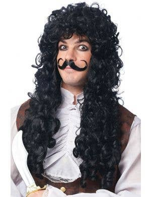 Pirate Captain Hook Long Curly Black Wig and Moustache Set