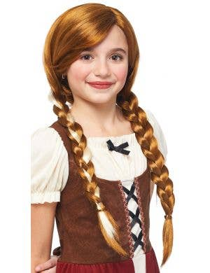 Olden Day Peasant Girls Auburn Wig with Plaits