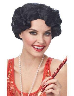 Darling Daisy Women's Short Curly Black Gatsby Wig