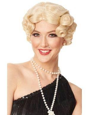 Darling Daisy Women's Short Curly Blonde Gatsby Wig