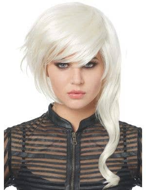 Fantasy Girl Platinum Blonde Women's Asymmetrical Bob Wig