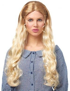 West Girl Women's Long Blonde Curly Costume Wig