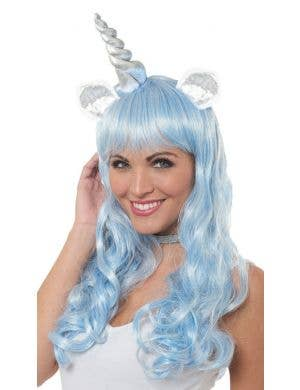 Magical Unicorn Long Pastel Blue Curly Costume Wig Accessory
