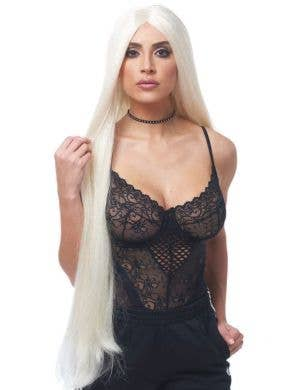 Reality TV Star Long White Women's Blonde Costume Wig