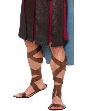 Men's Gladiator Roman Warrior Brown Costume Sandals Front
