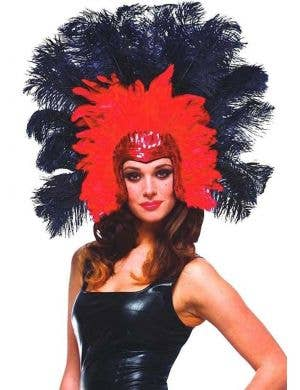 Red and Black Feather Headdress Front View