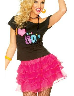 Women's 1980's Hot Pink Ra Ra Fancy Dress Petticoat Main Image