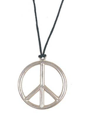 Silver Peace Necklace with Black Strap Front View