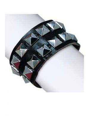 Silver Studded Black Faux Leather Bracelet Front View