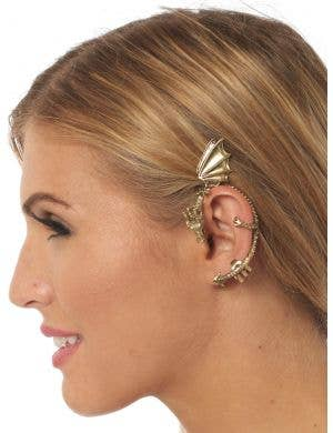 Fantasy Dragon Gold Metal Ear Cuff Costume Accessory