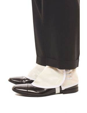 1920's White Vinyl Shoe Spats Costume Accessory