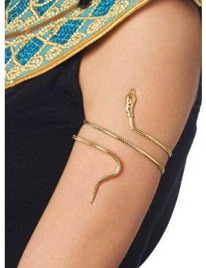 Gold Egyptian Goddess Snake Arm Band Front View