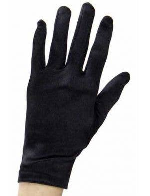 Short Wrist Length Black Costume Gloves Front View