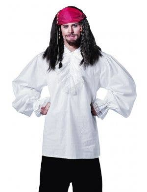 Men's Ruffled White Pirate Costume Shirt