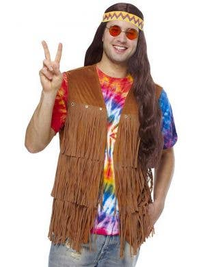 Men's Brown Fringed Hippie Costume Vest