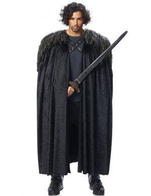 Medieval Warrior Men's Black Fur Costume Cloak