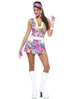 60's Hippie Women's Sexy Fancy Dress Costume Main View