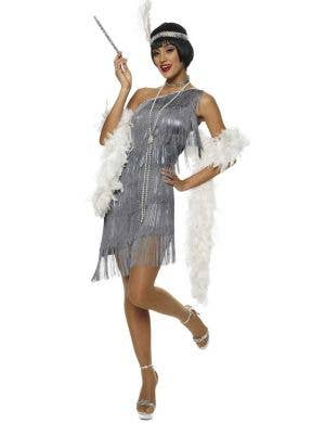One Shoulder Women's Grey Flapper Dress Costume Front View