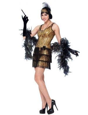 Women's Gold Sequined 1920's Flapper Costume Front View
