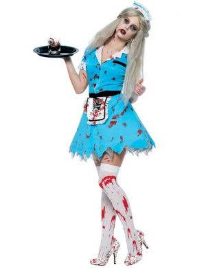 Women's Diner Girl Zombie Costume Front View
