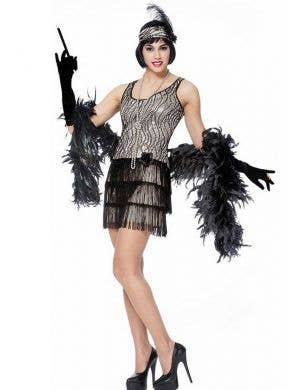 Women's Silver Sequined 1920's Flapper Costume Front View