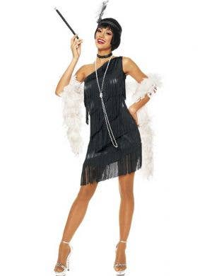 Black Lurex Women's 1920's Flapper Costume