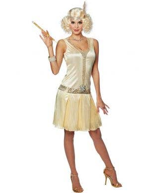 Women's Sexy Gold Great Gatsby 1920's Costume Front View