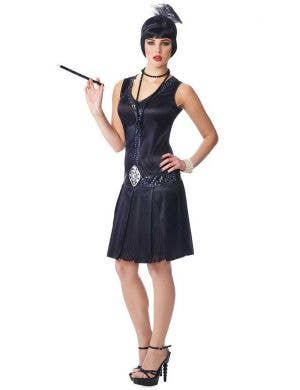 Women's Sexy Black Great Gatsby 1920's Costume Front View