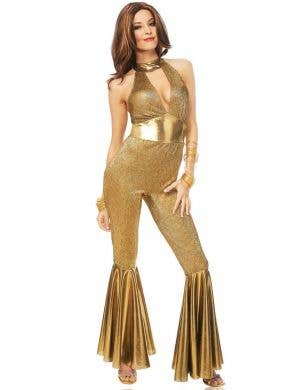 Disco Diva Women's Gold 1970's Fancy Dress Costume