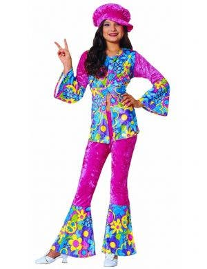 Girls 1960's Hippie Fancy Dress Costume Main Image