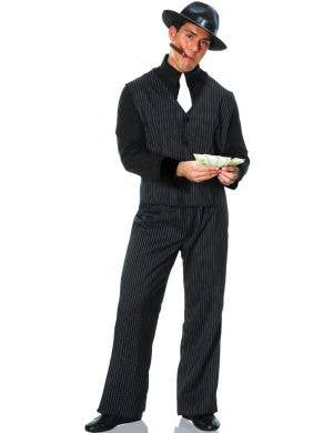 1920's Pinstripe Gangster Men's Fancy Dress Costume