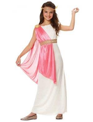 Girls Roman Goddess Fancy Dress Costume Front View