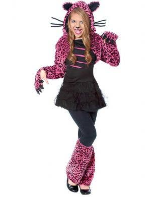 Girls Black and Pink Cat Costume Front View