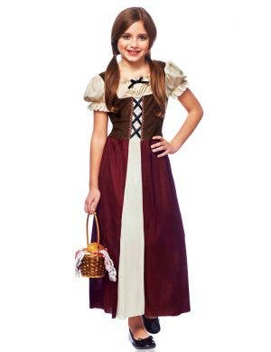 Peasant Girl's Kids Renaissance Fancy Dress Costume Main Image