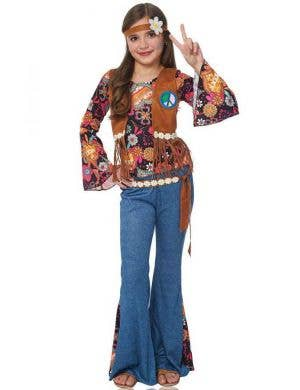 Retro Girl's 60's Boho Hippy Costume Front View