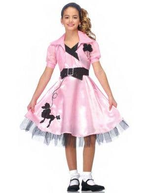 Girl's 50's Pink Poodle Skirt Retro Costume Front View