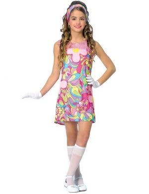 Girls 1960's Groovy Hippie Costume Main Image