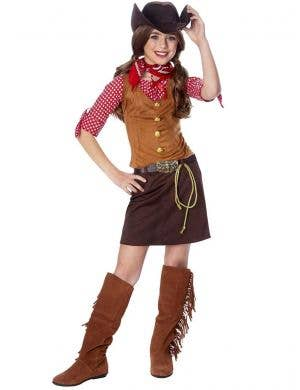 Girls Wild West Cowboy Costume Front View
