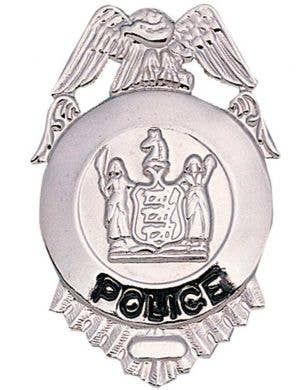 Silver Police Costume Badge Front View