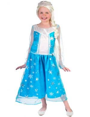 Girl's Elsa Frozen Dress Up Costume Front View
