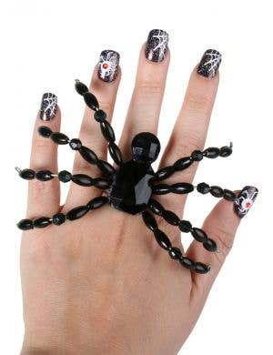 Giant Black Jewelled Spider Ring Halloween Accessory