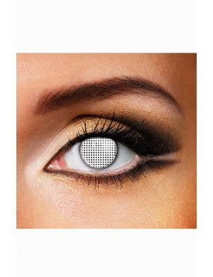 White Mesh Design Contact Lense