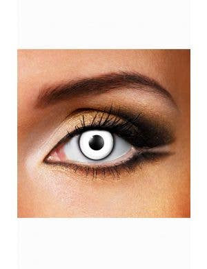 White Halloween Contact Lenses with Black Ring Front View