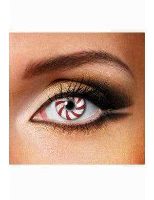 Candy Cane Striped Christmas Contact Lenses