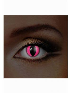 Neon Pink Cat Eye Ultra Violet Contact Lenses Front View