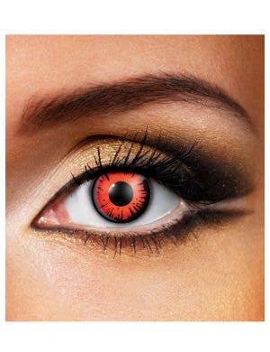 Red Halloween Contact Lenses with Black Ring Font View