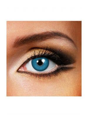 Bright Blue Coloured Chucky Contact Lenses by Funky Vision View 1