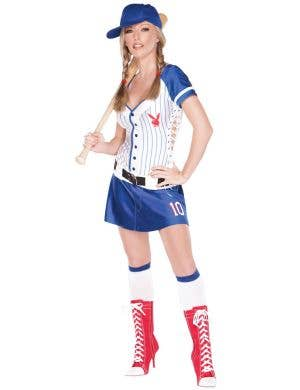 Home Run Hottie Blue Women's Baseball Playboy Costume