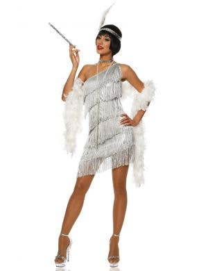 Metallic Silver Women's Gatsby Flapper Fancy Dress Front View